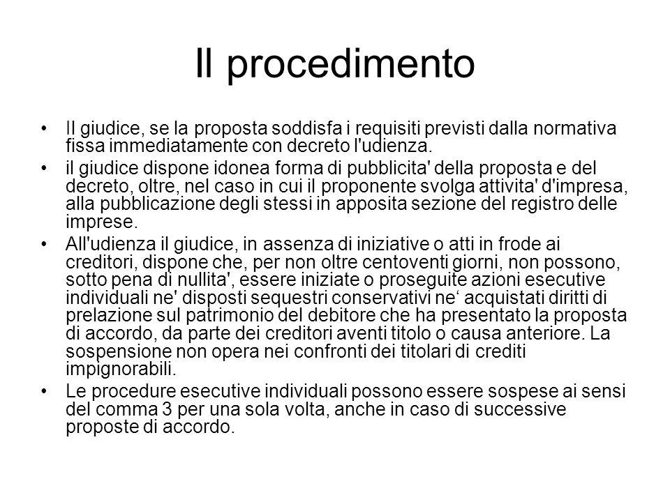 Il procedimento Il giudice, se la proposta soddisfa i requisiti previsti dalla normativa fissa immediatamente con decreto l udienza.