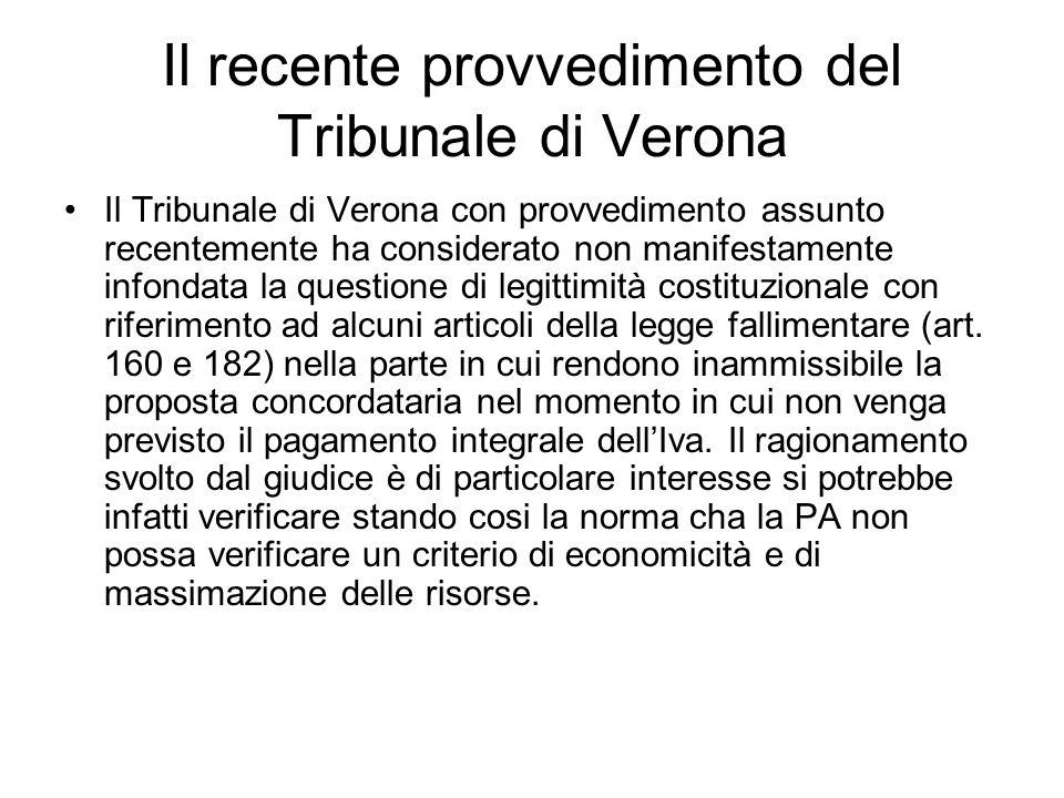 Il recente provvedimento del Tribunale di Verona
