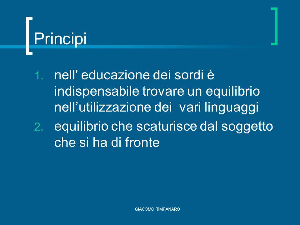 Principi nell educazione dei sordi è indispensabile trovare un equilibrio nell'utilizzazione dei vari linguaggi.
