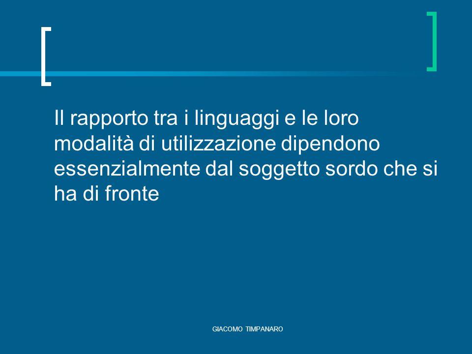 Il rapporto tra i linguaggi e le loro modalità di utilizzazione dipendono essenzialmente dal soggetto sordo che si ha di fronte