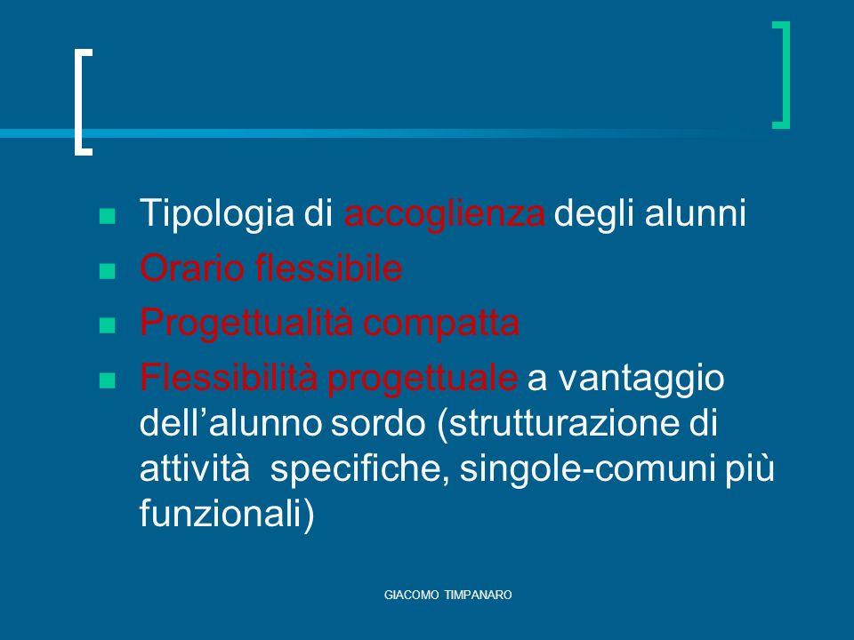 Tipologia di accoglienza degli alunni Orario flessibile