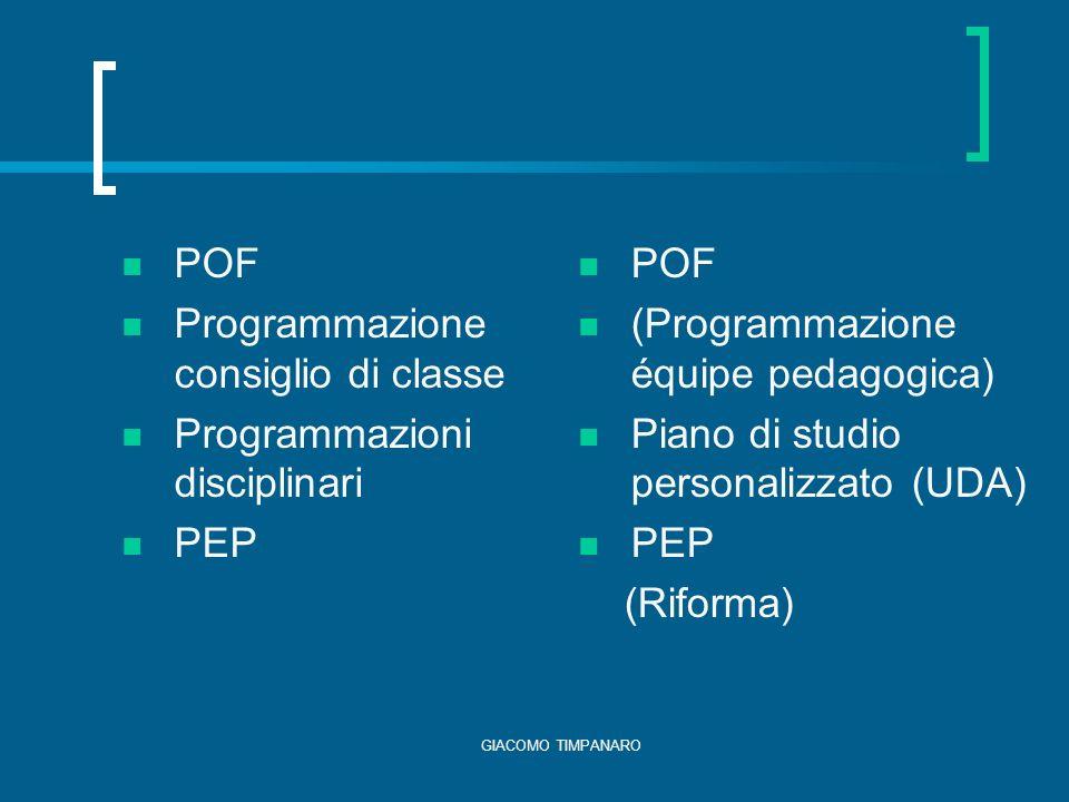 Programmazione consiglio di classe Programmazioni disciplinari PEP POF