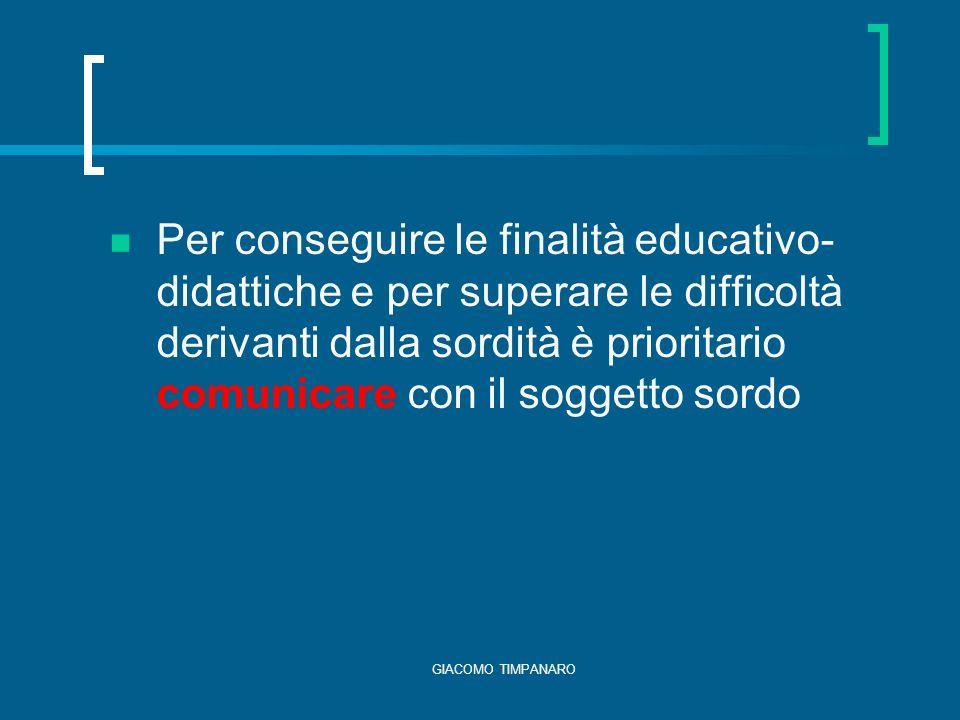 Per conseguire le finalità educativo-didattiche e per superare le difficoltà derivanti dalla sordità è prioritario comunicare con il soggetto sordo