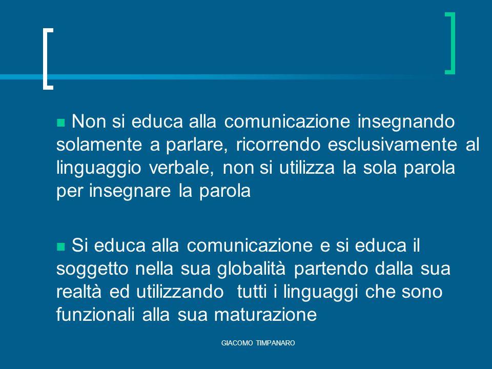 Non si educa alla comunicazione insegnando solamente a parlare, ricorrendo esclusivamente al linguaggio verbale, non si utilizza la sola parola per insegnare la parola