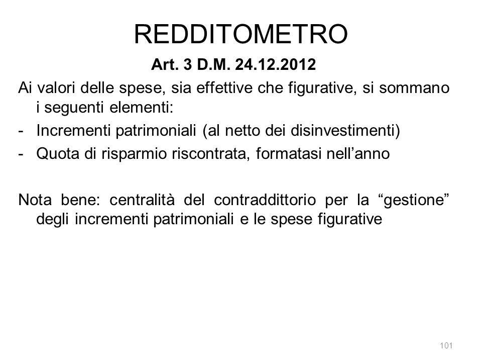 REDDITOMETRO Art. 3 D.M. 24.12.2012. Ai valori delle spese, sia effettive che figurative, si sommano i seguenti elementi:
