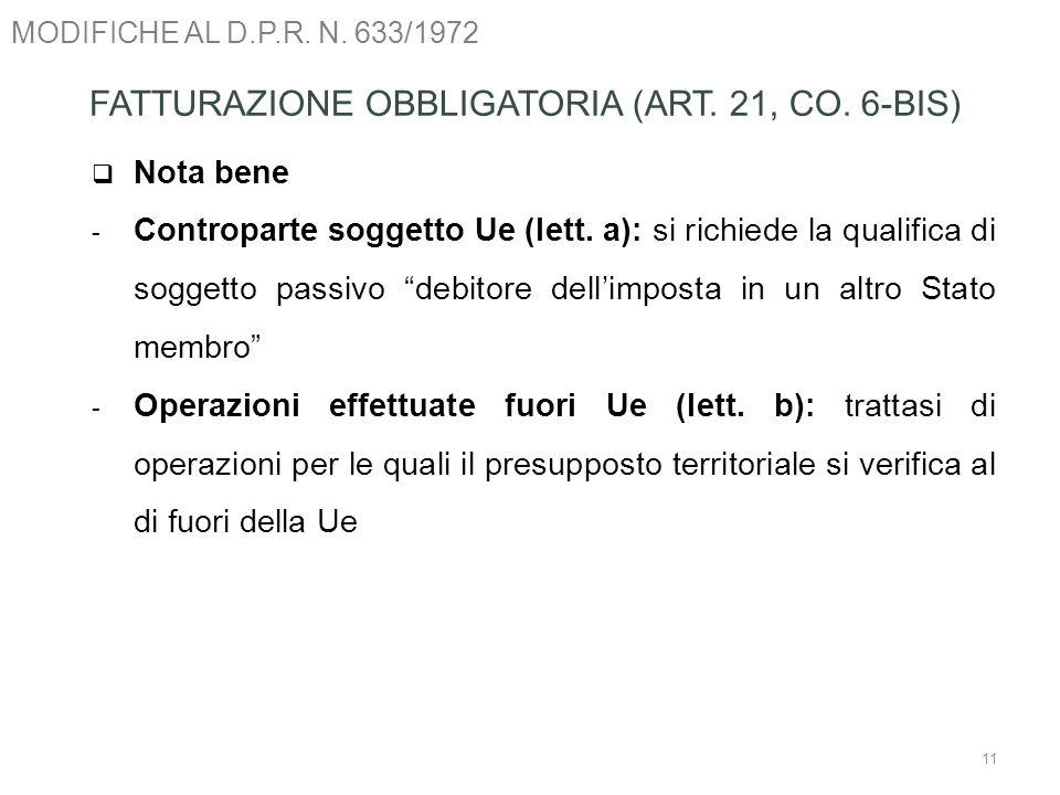 FATTURAZIONE OBBLIGATORIA (ART. 21, CO. 6-BIS)