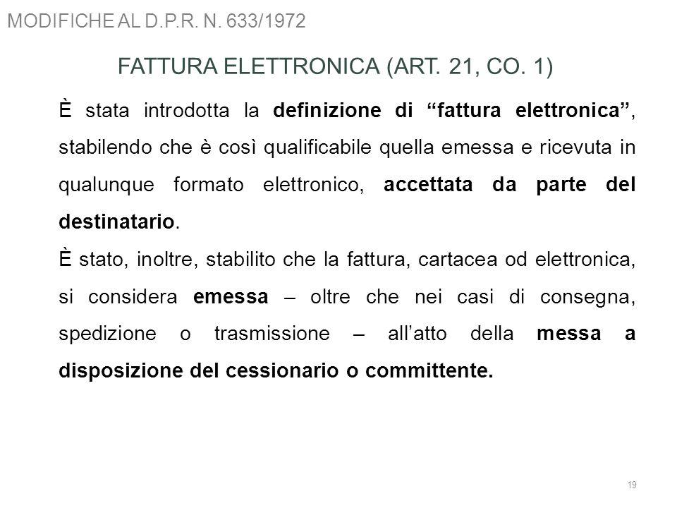 FATTURA ELETTRONICA (ART. 21, CO. 1)