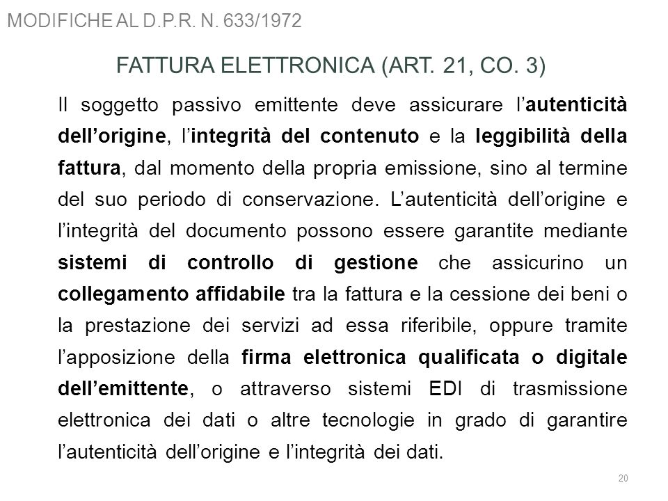 FATTURA ELETTRONICA (ART. 21, CO. 3)