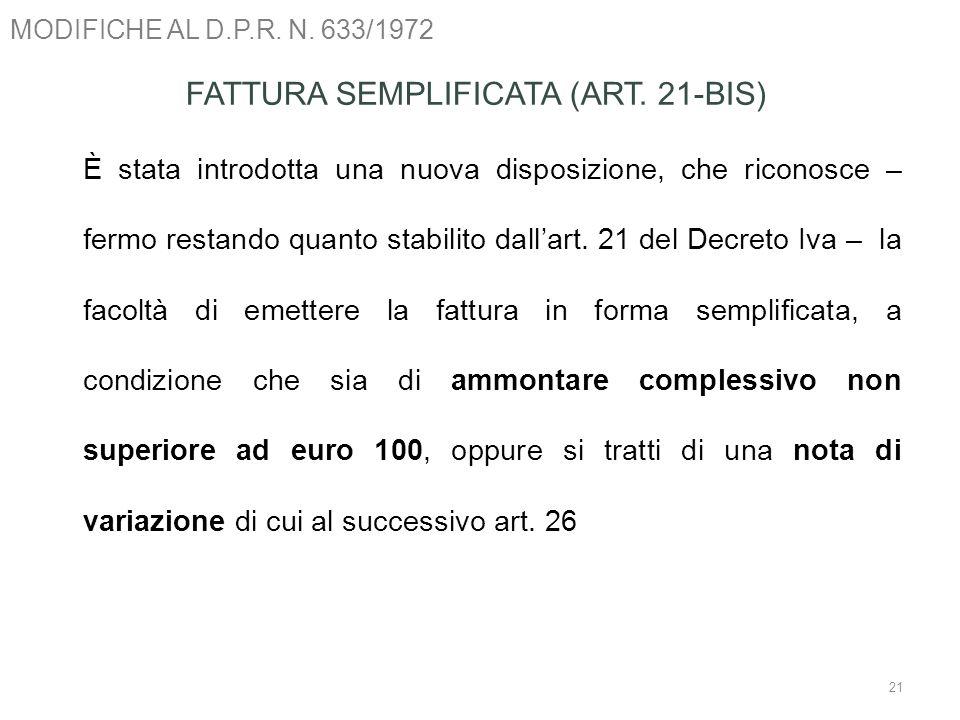 FATTURA SEMPLIFICATA (ART. 21-BIS)