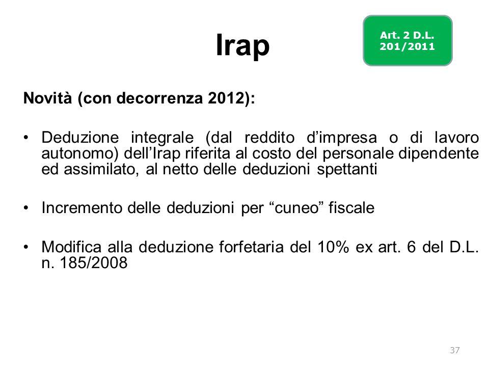 Irap Novità (con decorrenza 2012):