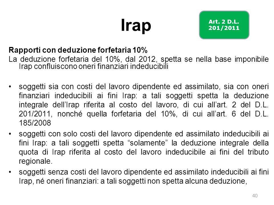 Irap Rapporti con deduzione forfetaria 10%