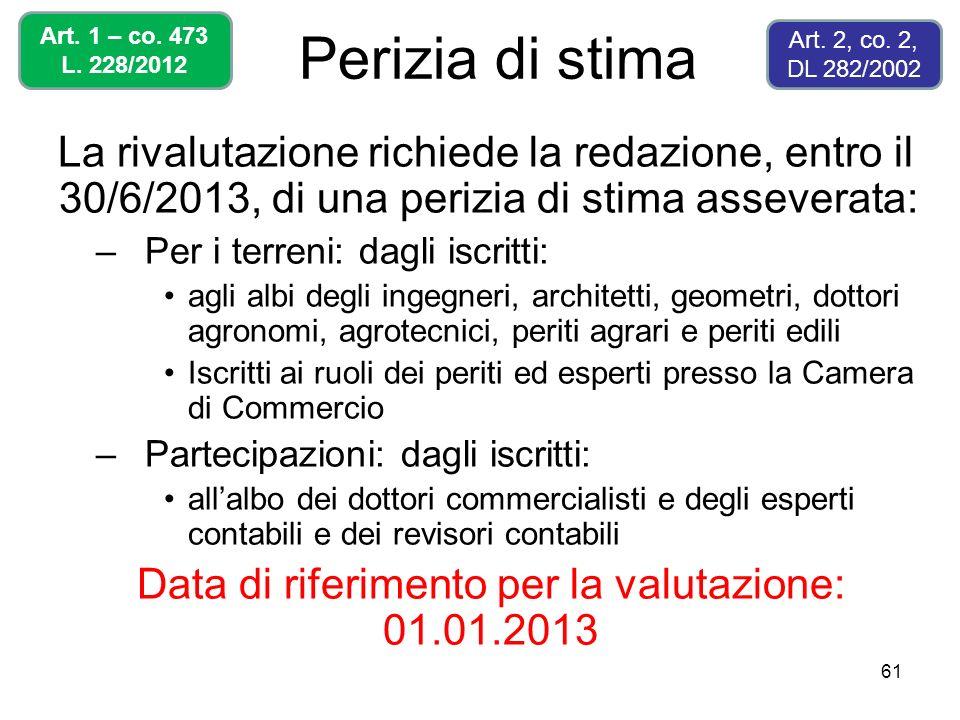 Data di riferimento per la valutazione: 01.01.2013