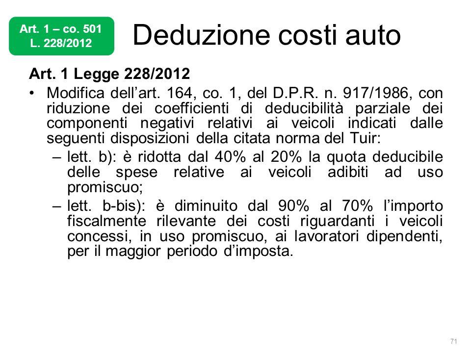 Deduzione costi auto Art. 1 Legge 228/2012