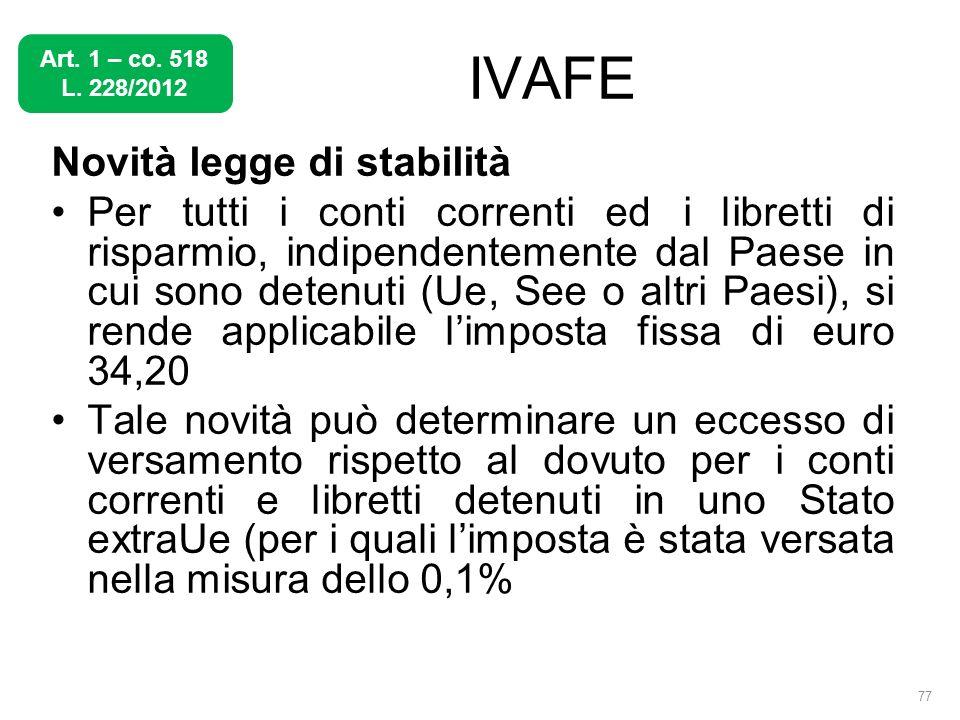 IVAFE Novità legge di stabilità