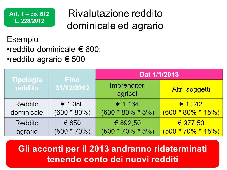 Rivalutazione reddito dominicale ed agrario
