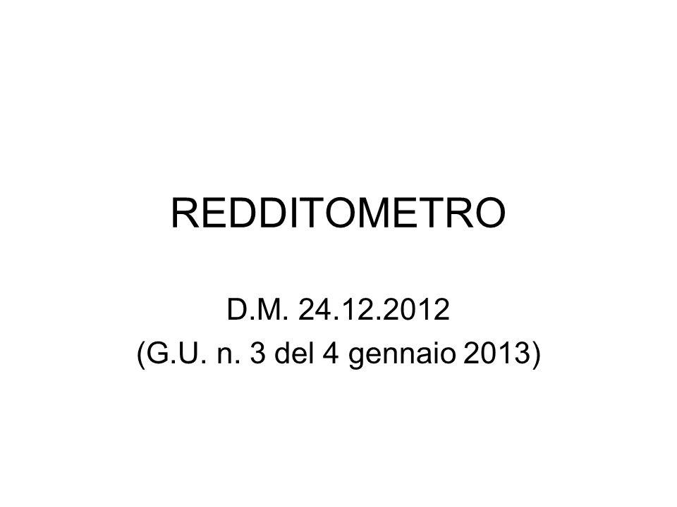 REDDITOMETRO D.M. 24.12.2012 (G.U. n. 3 del 4 gennaio 2013)