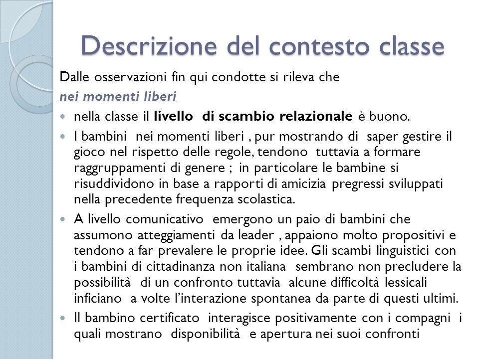 Descrizione del contesto classe