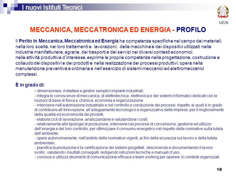 MECCANICA, MECCATRONICA ED ENERGIA - PROFILO