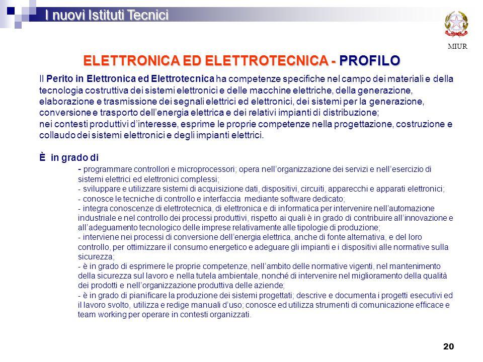 ELETTRONICA ED ELETTROTECNICA - PROFILO