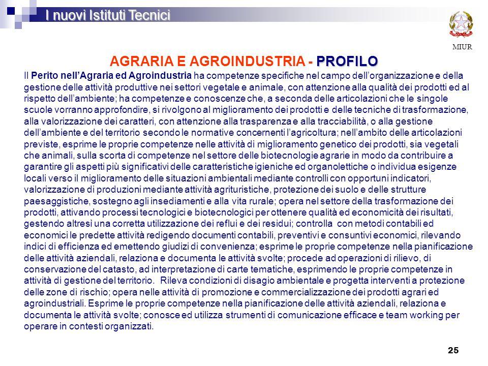 AGRARIA E AGROINDUSTRIA - PROFILO
