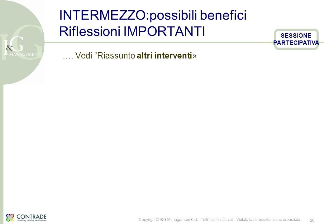 INTERMEZZO:possibili benefici Riflessioni IMPORTANTI