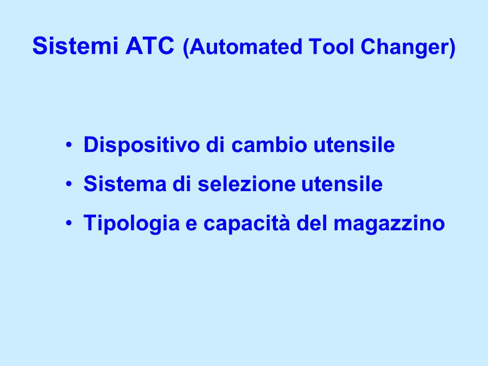 Sistemi ATC (Automated Tool Changer)