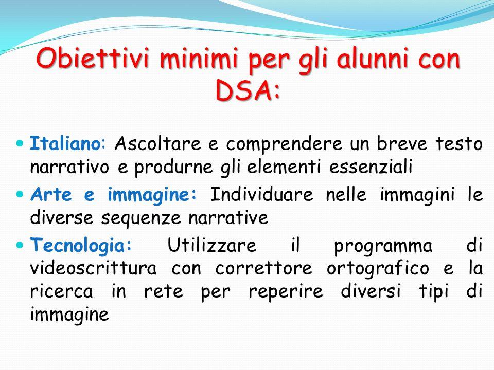 Obiettivi minimi per gli alunni con DSA: