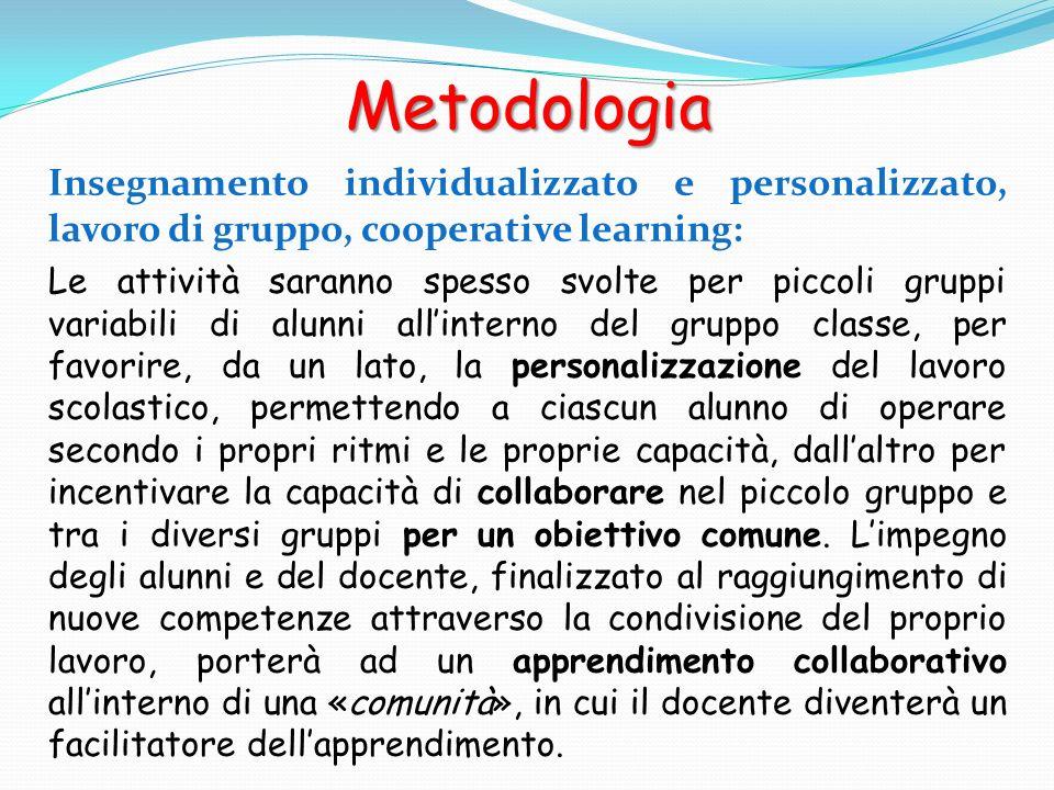 Metodologia Insegnamento individualizzato e personalizzato, lavoro di gruppo, cooperative learning: