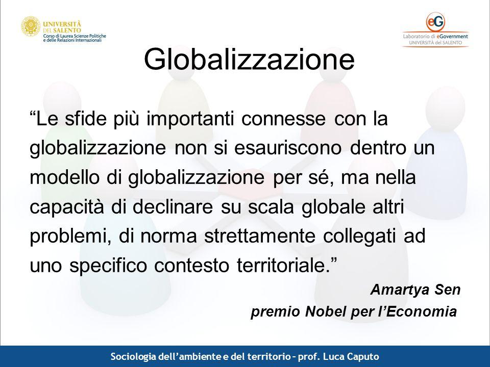 Sociologia dell'ambiente e del territorio – prof. Luca Caputo