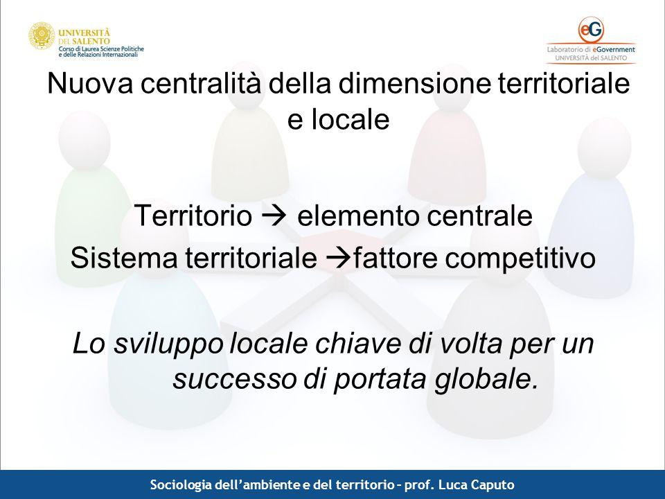 Nuova centralità della dimensione territoriale e locale