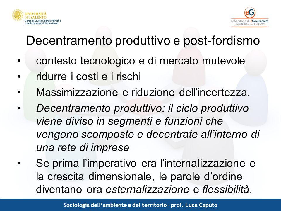 Decentramento produttivo e post-fordismo