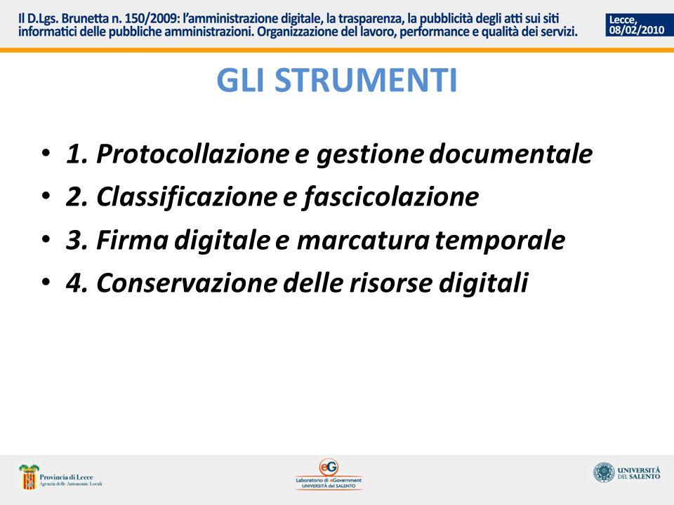 GLI STRUMENTI 1. Protocollazione e gestione documentale