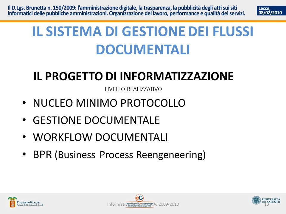 Il sistema di gestione dei flussi documentali