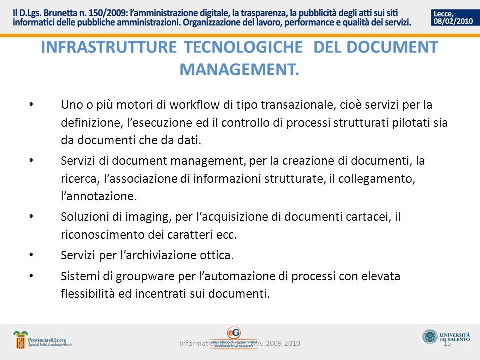 INFRASTRUTTURE TECNOLOGICHE DEL DOCUMENT MANAGEMENT.