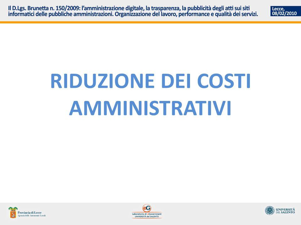 riduzione dei costi amministrativi