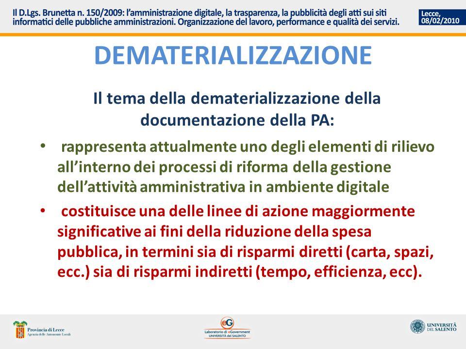 Il tema della dematerializzazione della documentazione della PA: