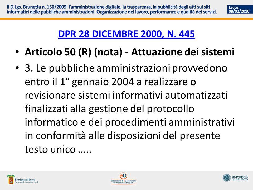 Articolo 50 (R) (nota) - Attuazione dei sistemi