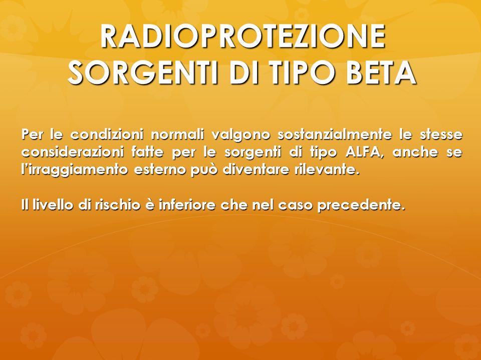 RADIOPROTEZIONE SORGENTI DI TIPO BETA