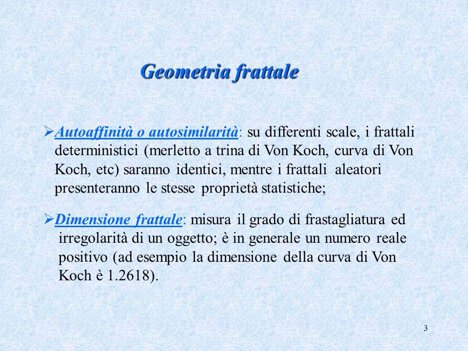Geometria frattale Autoaffinità o autosimilarità: su differenti scale, i frattali. deterministici (merletto a trina di Von Koch, curva di Von.