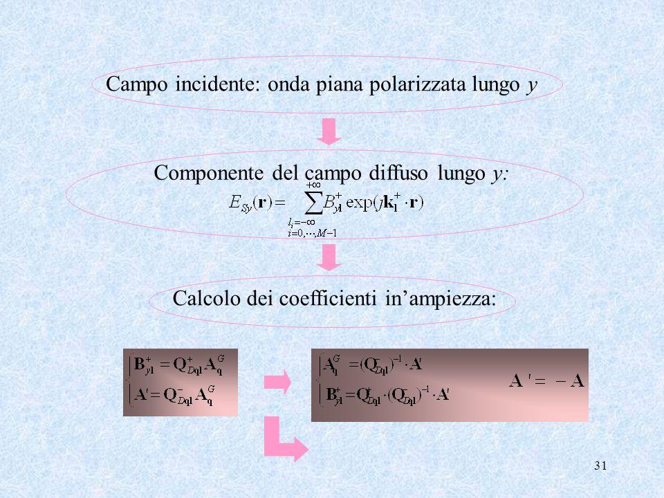 Campo incidente: onda piana polarizzata lungo y