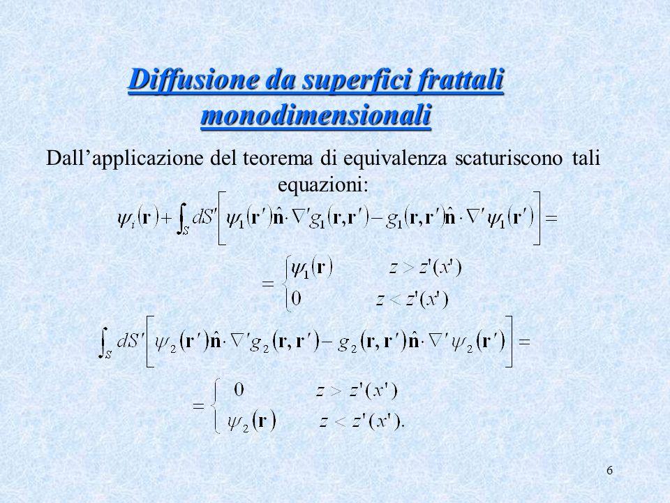 Diffusione da superfici frattali monodimensionali
