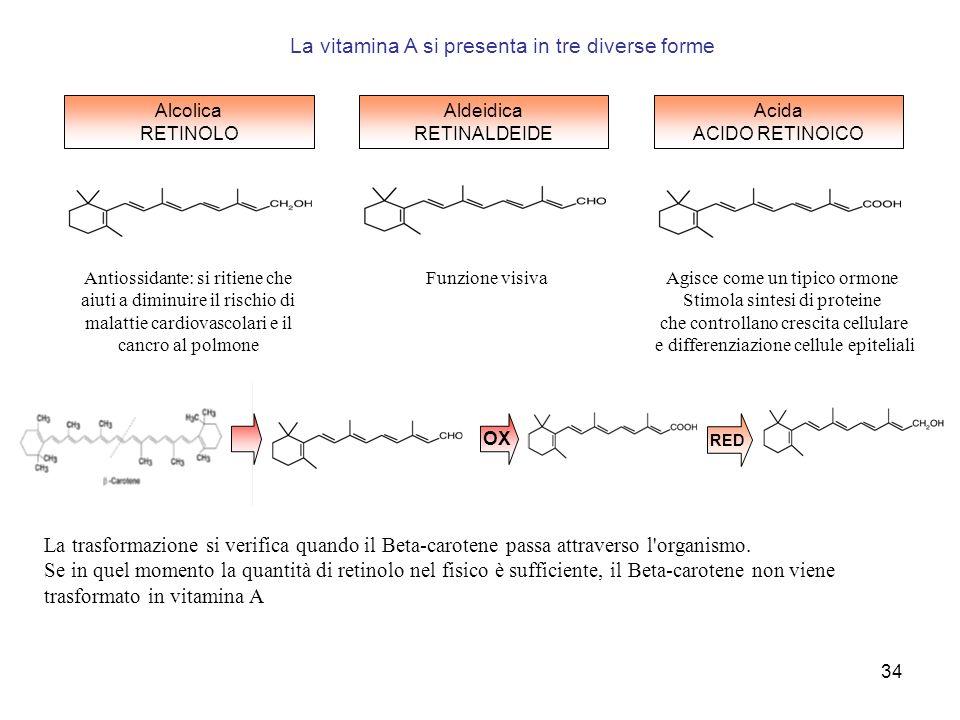 La vitamina A si presenta in tre diverse forme
