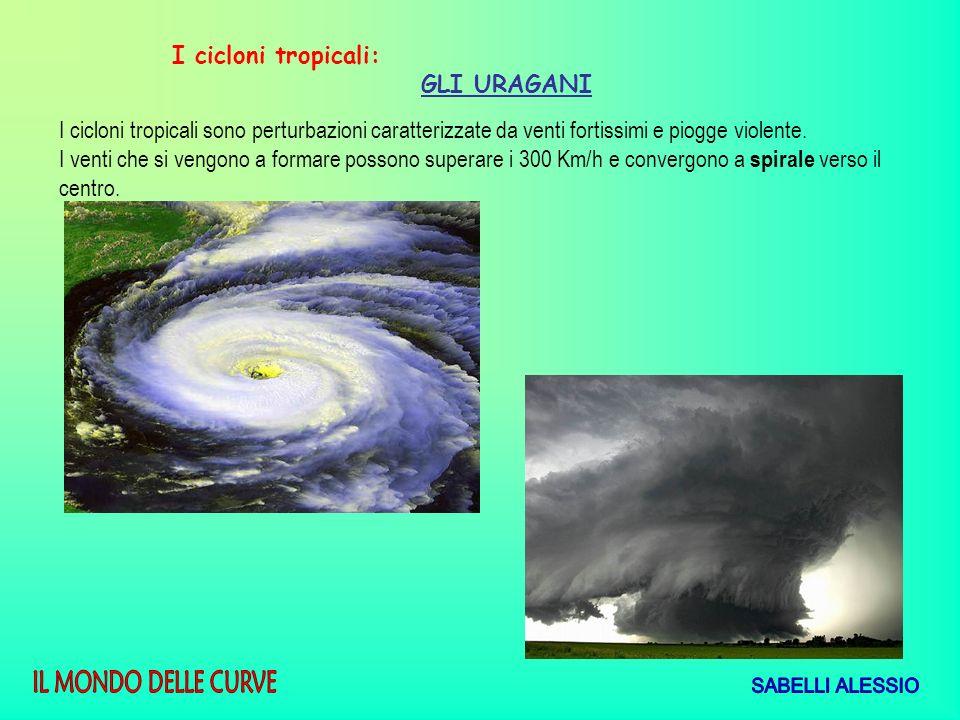 I cicloni tropicali: GLI URAGANI. I cicloni tropicali sono perturbazioni caratterizzate da venti fortissimi e piogge violente.