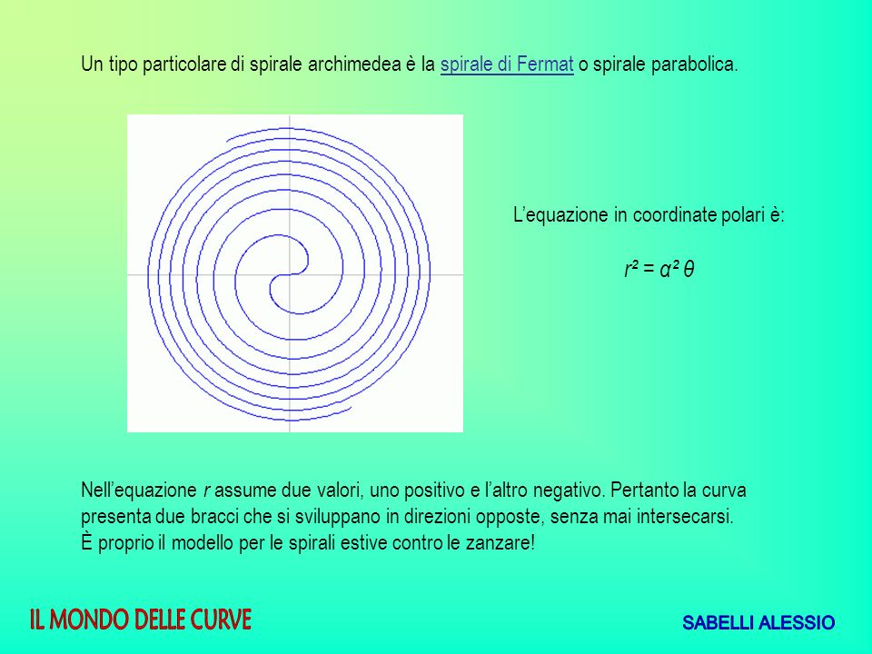 Un tipo particolare di spirale archimedea è la spirale di Fermat o spirale parabolica.
