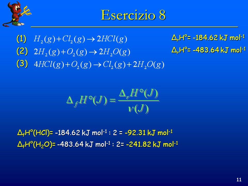 Esercizio 8 (1) (2) (3) ΔrH°= -184.62 kJ mol-1 ΔrH°= -483.64 kJ mol-1