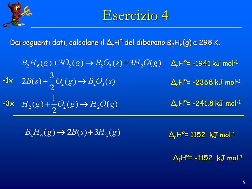 Esercizio 4 Dai seguenti dati, calcolare il ΔfH° del diborano B2H6(g) a 298 K. ΔrH°= -1941 kJ mol-1.