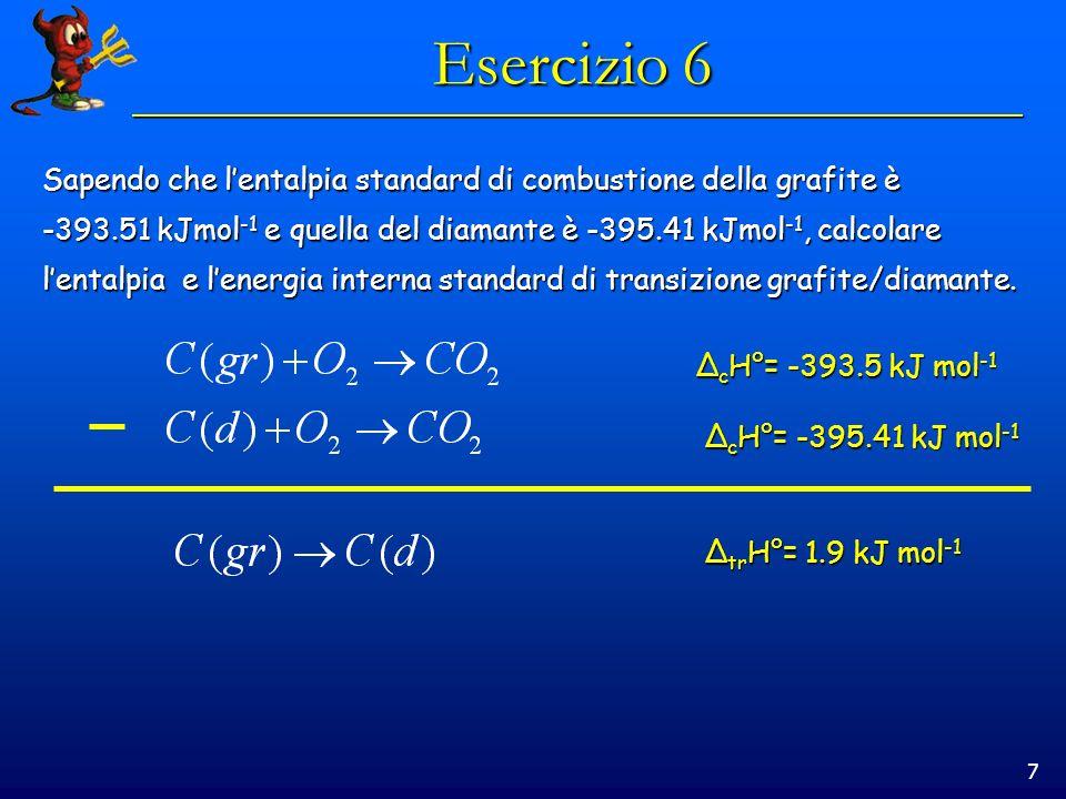Esercizio 6 Sapendo che l'entalpia standard di combustione della grafite è. -393.51 kJmol-1 e quella del diamante è -395.41 kJmol-1, calcolare.