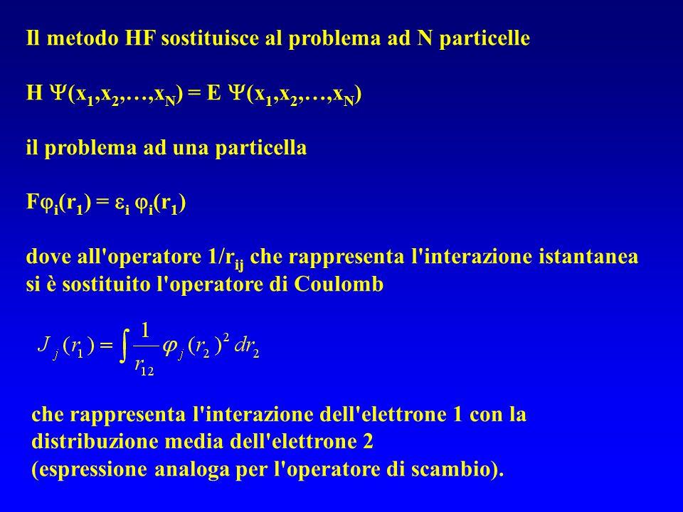 Il metodo HF sostituisce al problema ad N particelle