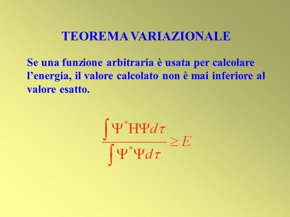 TEOREMA VARIAZIONALE Se una funzione arbitraria è usata per calcolare l'energia, il valore calcolato non è mai inferiore al valore esatto.