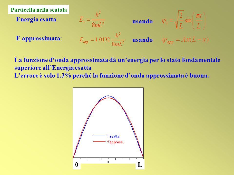 L'errore è solo 1.3% perché la funzione d'onda approssimata è buona.